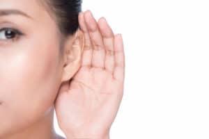 Woman's ear stock image